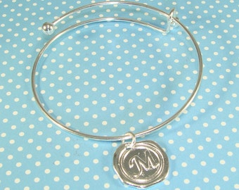 1 Silver Bangle with Wax Seal INITIAL Charm YOU CHOOSE Letter- Expandable Bracelet Token Of Love Bridesmaid Gift Best Friend Mother's Day