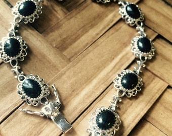 Thai Black Spinel Sterling Silver Bracelet