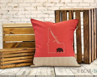 """18-Inch Pillow: """"Wander Free"""" Idaho Bear, Embroidered on Canvas with Cotton Ticking (Multiple Colors Available)"""
