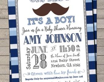 Mustache Bash Baby Shower Invite