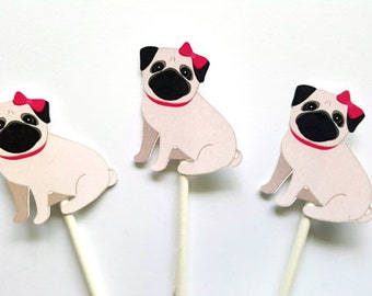 Pug Cupcake Toppers, Puppy Party Cupcake Toppers - Girl Pug Cupcake Toppers - Pug Sitting (10516109A)