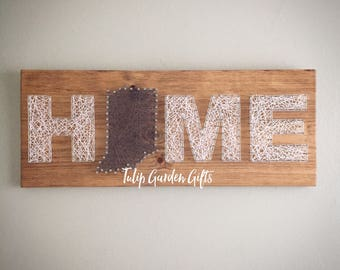 Home With Your Home State String Art Sign, Home Sweet Home, Home Sign, Home String Art, Home State String Art Sign, State String Art Sign