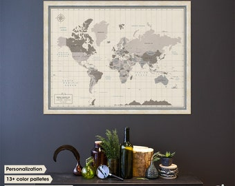 Framed World Map with Pins - World Map Wall Art - Personalized Travel Map with multiple color choices - Classic Banner