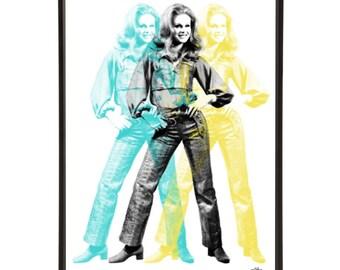 Triple Lumley - Pop art portrait of Joanna Lumley, the absolutely fabulous model Bond-Girl and Avenger