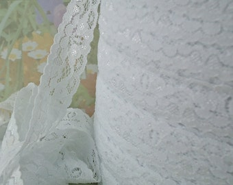 3yd White Elastic Lace Ribbon Stretch Lace Trim 7/8 inch wide almost 1 inch diy Wedding bridal Baby Headbands, lingerie Edging