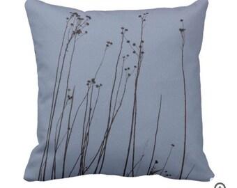 Slate Blue and Dark Espresso Brown Decorative Pillow