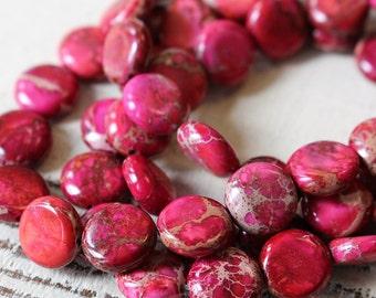 10mm Coin Beads - 10mm Impression Jasper - Aqua Terra Jasper Beads For Jewelry Making Supply - Magenta Pink - Choose Amount