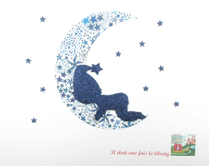 Fusible pattern baby boy sleeping on a moon in liberty Adelajda blue + Thermo flex glitter iron on patch applique