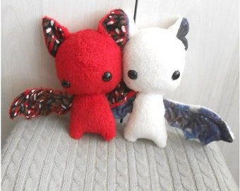 LIMITED! READY to SHIP; white galaxy bat plush and red devil bat plush