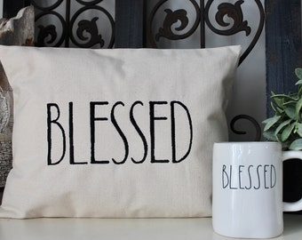 Rae Dunn inspired Pillow Cover, Blessed Pillow Cover, Farmhouse Style, Modern Farmhouse Pillow Cover, Pillow Cover