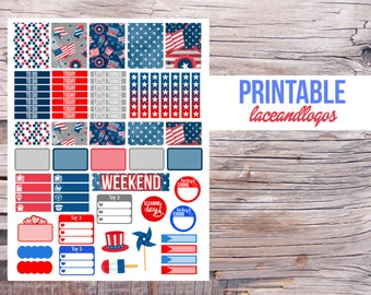 Printable Planner Stickers Independence Day Weekly Kit    Happy Planner Glam Planning July 4th America Patriotic RedFor Erin CondrenPlanner