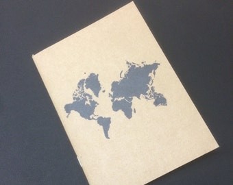 Kraft notebook world notepad, Perfect travel journal, sketchbook, or for writing, great gift for her.