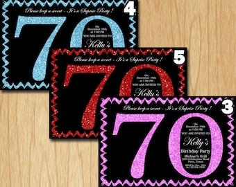 70th Birthday Invitation Pink Red Purple Blue Green Glitter Birthday Party Invite Adult Elegant Surprise Birthday Printable Digital ADBB70