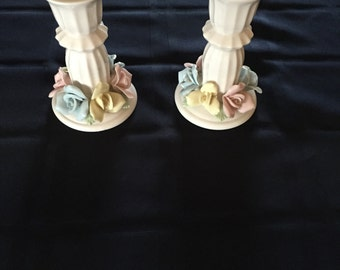 Pair of White Candle Holders