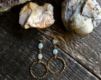 Opal Earrings,Opal Dangle Earrings Gold,Gold Opal Earrings,Opal Hoop Earrings Gold,Gemstone Earrings,Gold Gemstone Earrings