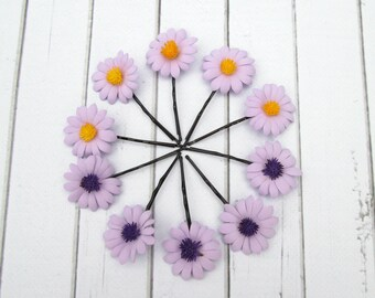 Set Violet Daisies Hair Pin Accessories - Daisy Flower Hair - Camomile hair decoration - Floral Bobby Pin - Girls Hair Accessories