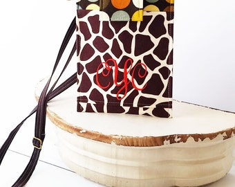 Monogrammed Cell Phone Sleeve, FIT ANY Size/Brand Phone, Phone Purse with Adjustable Strap,iphone accessories,samsung galaxy- Giraffe & Dots