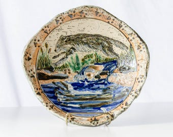 Grey Wolf Pottery Dish, Handbuilt Stoneware Bowl, Wolf Art, Arctic Artwork, Wolf Jumping with Reflection and Waterfall, Wolf Moon Bowl