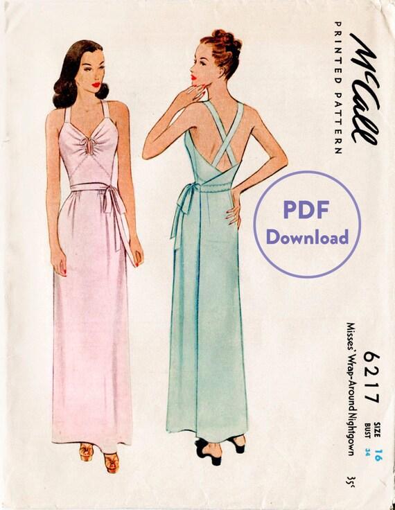 1940s 40s vintage dress sewing pattern side tie slip dress