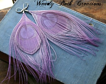 Lavender Peacock Feather Earrings - Boho, Festival, Steampunk, Belly Dance, Fairy