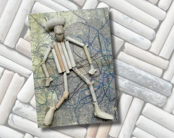 "One ""Pete Takes the Tram"" greeting card – FREE UK postage – created from clay pipe fragments gathered from the River Thames foreshore"