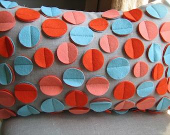 Disc Pillow in Aqua, Coral and Dark Orange