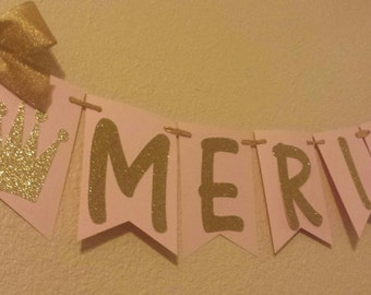 Princess Name Banner garland Pink Gold or choose your own colors! Birthday Party Baby shower Decor Photo Prop Backdrop
