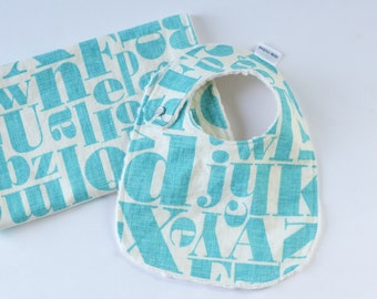 Baby Boy Bib and Burp Cloth Set Just My Type Letterpress in Teal