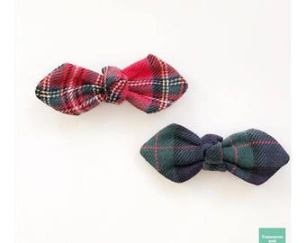 Handmade in Japan, Red and Blue Tartan Hair Bow, Set of 2