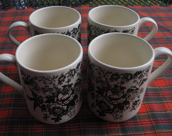 Black and White Transferware Coffee Mugs, Made in England