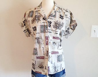 Awesome 1990s Jungle Cheetah Leopard Print Blouse Oversided Ladies Large