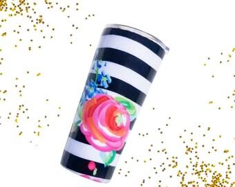 Rose Tumbler - Travel To-Go Cup - Personalized Tumbler - Travel Coffee Mug - Monogram Stainless Yeti Tumbler - Tumbler Decal - Steel Tumbler