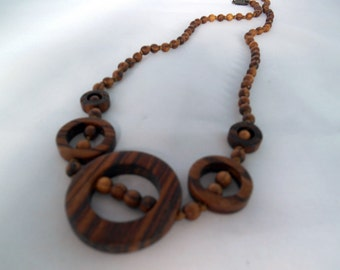 Geometrical wooden beads necklace - Brown, beige beads, pearls, rings- knotted - gift idea - fashion jewelry -