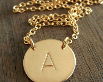 Gold Initial Necklace, Personalized, Hand Stamped Letter Charm Necklace, KIERSTEN GOLD by E. Ria Designs