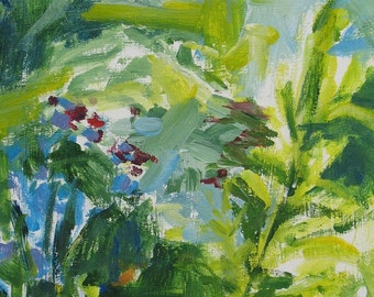 Mullein GICLEE ART PRINT 11 x 17 floral aqua blue abstract home and garden