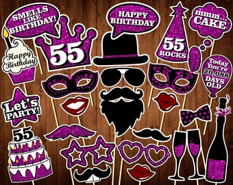 55th Birthday Photo Booth Props