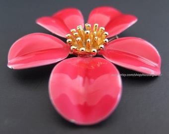Vintage Pink Enamel Flower Pin Gold Tone Center Brooch