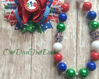 PJ Masks chunky necklace stacked hair bow