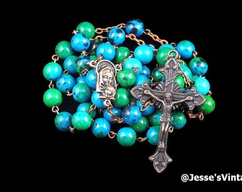 Catholic Rosary Beads Blue Green Chrysocolla Stone Copper Traditional Rustic Five Decades Catholic Gift