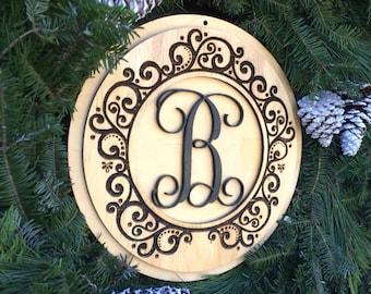 Wood Door Monogram - Wreath Center - Christmas Gift - Monogram Door Decor - Wall Monogram - Laser cut Wooden Initials