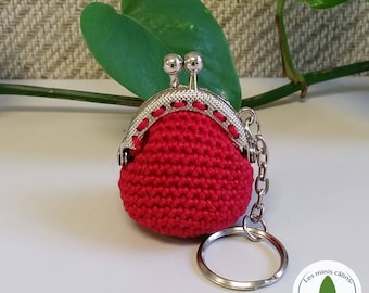 Wallet and keychain miniature crocheted, Red