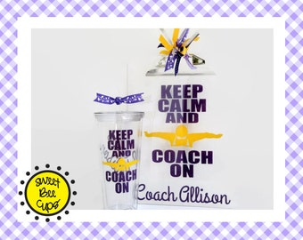 Keep Calm and Coach On Acrylic Cup and Clipboard SET, OPTIONAL PERSONALIZATION, Swim Coach Gift, Swim Team Coach, Swim Club, Swimming Coach