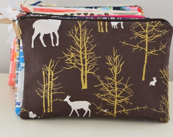 Zipper Pouch in Woodland - cosmetic bag travel case diaper bag organizer medium brown deer gold animals ipad mini kindle toiletry gift set