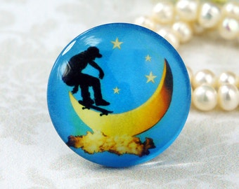 25mm 30mm Handmade glass photo cabochon Movement Moon silhouette cabs 30P008