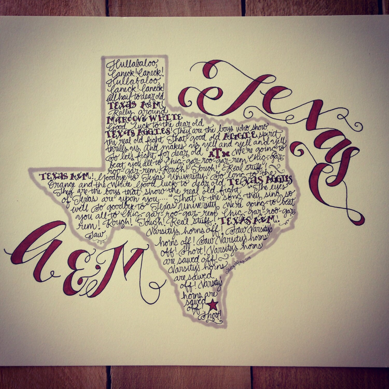 Texas A&M Aggie War Hymn Print Hand-drawn Texas