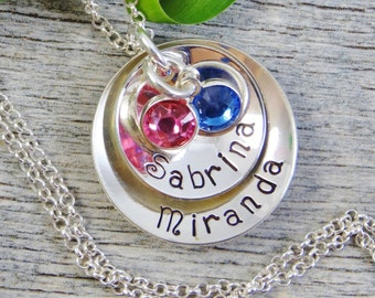 Hand Stamped Jewelry - Personalized Jewelry - Mothers Necklace - Sterling Silver Necklace - Two Names Two Birthstones - Cupped