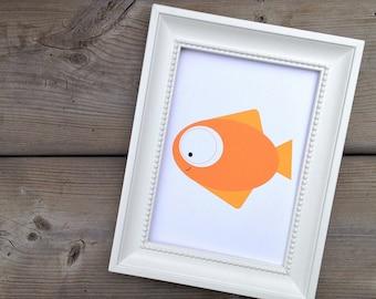 Orange Fish Print, Childrens Art Print, Kids Animal Art, Nursery Decor, Fish Poster, Ocean Creature