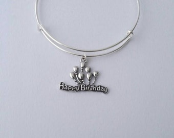 Happy Birthday balloons silver charm bangle bracelet