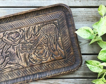 Vintage Wooden Carved Dragon Tray, Decorative Tray, Boho Decor, Global Decor, Chinese Folklore Dragon