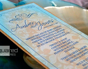 Beach Wedding Bespoke Menu Cards - SAMPLE - Destination Wedding - Reception Menus, Custom Design Wedding Reception Decor Event Menu